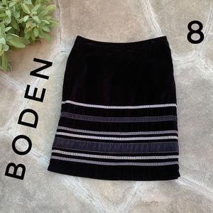 Boden Black Velvet Ribbon trim Pencil Skirt